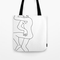 naked Tote Bags featuring naked by Michael Interrante