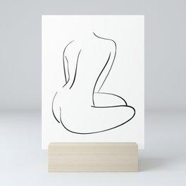 Sitting nude, female figure line art, figure drawing Mini Art Print