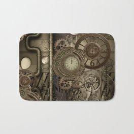 Steampunk, clocks and gears Bath Mat