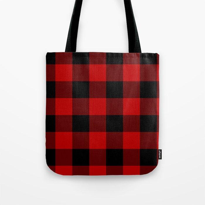 Red And Black Buffalo Plaid Tote Bag