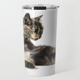 Contortionist tortoiseshell cat lying down in silly pose. Travel Mug