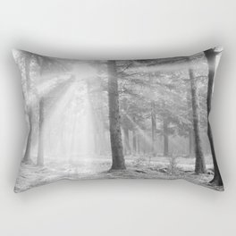 A light through the forest - Black and white - North Kessock, Highlands, Scotland Rectangular Pillow