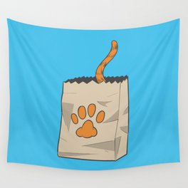 Hand Drawn Cat in the Bag Wall Tapestry