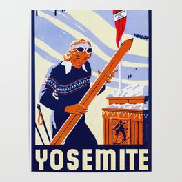 Yosemite Winter Sports Travel Poster