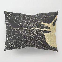 Dublin Ireland Black on Gold Street Map Pillow Sham