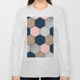 Navy and peach marble and foil hexagons Long Sleeve T-shirt