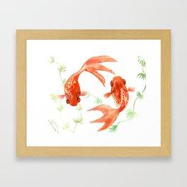 Koi Fish, Feng Shui, Goldfish art, Two fish, Framed Art Print