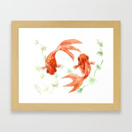 Koi Fish, Feng Shui, Goldfish art, Two fish, Framed Art Print