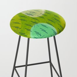 Modern circles with flowers and rain Bar Stool