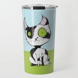 Cute black and white cat Travel Mug