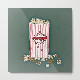 THERE'S ALWAYS TIME FOR POP CORN! - GREEN Metal Print