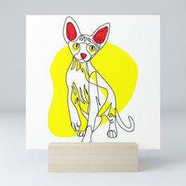 One Line Cat - Sphynx Mini Art Print