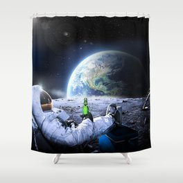 Astronaut on the Moon with beer Shower Curtain