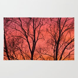 Tree Silhouttes Against The Sunset Sky #decor #society6 #homedecor Rug