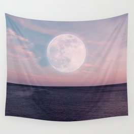 Sunset Sea Moon Wall Tapestry