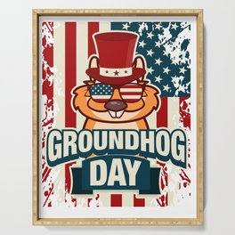 Happy Groundhog Day design Proud Patriotic Awesome Gift Serving Tray