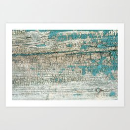 Rustic Wood Turquoise Weathered Paint Wood Grain Art Print