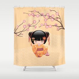 Japanese Ume Kokeshi Doll Shower Curtain