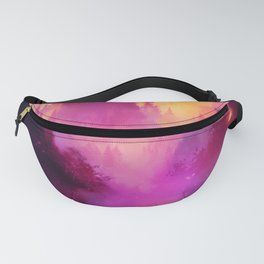 Fantasy fairytale landscape with a river and a castle. Lovely hand painted illustration Fanny Pack