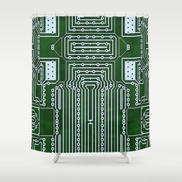 Computer Geek Circuit Board Pattern Shower Curtain