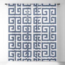 Dark Navy Blue and White Greek Key Pattern Sheer Curtain