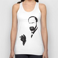 freud Tank Tops featuring Faceless Smokin Freud by StayDry