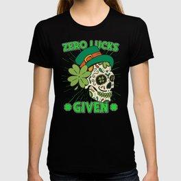 Zero Lucks Given Mardi Gras Skull st patricks day costume T-shirt