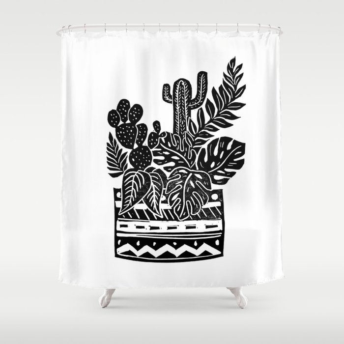 Botanical Pot Block Print Shower Curtain
