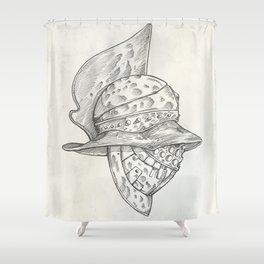 Roman helmet. Zentangle stylized. Vector illustration. Pattern. Shower Curtain