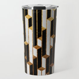 Marble Skyscrapers - Black, White and Gold Travel Mug