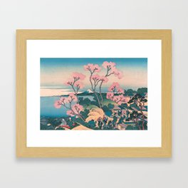 Spring Picnic under Cherry Tree Flowers, with Mount Fuji background Framed Art Print