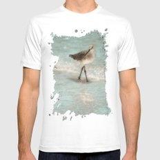 Bird Walking On The Beach Mens Fitted Tee White MEDIUM