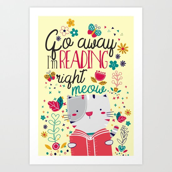 Reading Right Meow Art Print