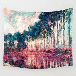 Monet Poplars Deep Pastels Wall Tapestry