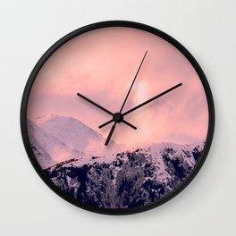 Kenai Mts Bathed in Serenity Rose - II Wall Clock