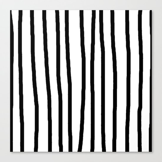 Simply Drawn Vertical Stripes in Midnight Black Canvas Print