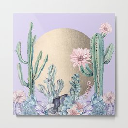 Desert Sun + Gemstones Gold Light Purple Metal Print