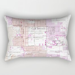 Vintage Map of Palm Springs California (1957) 2 Rectangular Pillow