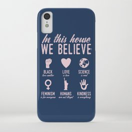In This House We Believe, Navy & Pink iPhone Case