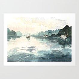 Sunrise in Ha Long Bay, Vietnam Art Print
