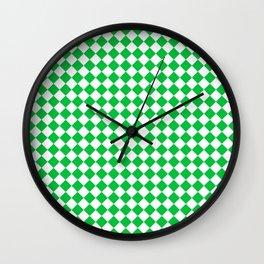 Small Diamonds - White and Dark Pastel Green Wall Clock