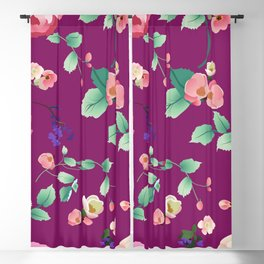 Roses and Violets on Purple Background Blackout Curtain