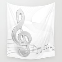 music notes Wall Tapestries featuring Treble Clef Music Notes by FantasyArtDesigns