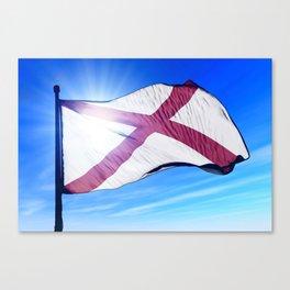 Alabama (USA) flag waving on the wind Canvas Print