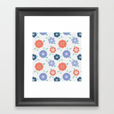Block Print Flowers Framed Art Print