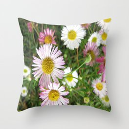 Daisies in the Grass Throw Pillow