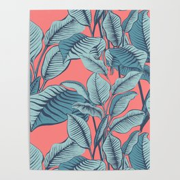 Pink Exotic Tropical Banana Palm Leaf Print Poster
