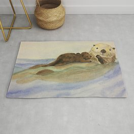 Mama and baby otters Rug