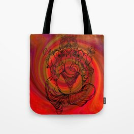 Lord Ganesha on Red Spiral Tote Bag