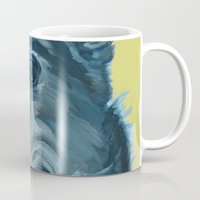 greyhound Mugs featuring Dilly the Greyhound Portrait by Barking Dog Creations Studio